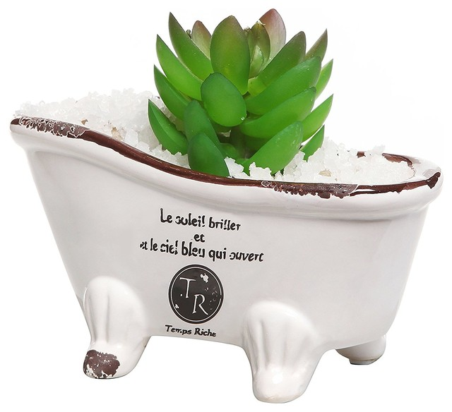 White Porcelain Pee French Country Style Claw Foot Bathtub Vintage Flower Pot