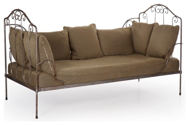 Consigned French Wrought Iron Antique Daybed Sofa ...