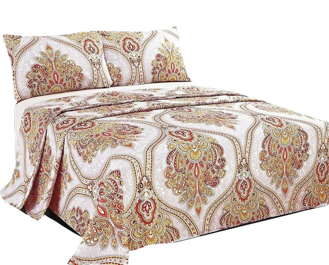 Sunshine Festival White Gold Fancy Patterned Flat Sheet