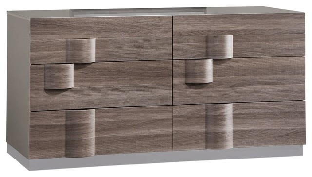 Global Furniture Adel Gray High Gloss And Zebra Wood Dresser.