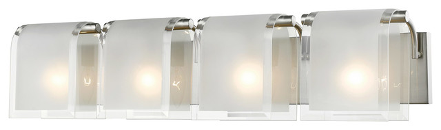"Bathroom Vanity 4-Light With Brushed Nickel, Candelabra Base Bulbs, 31"", 240W"