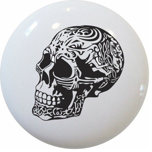 Skull Carvings Ceramic Cabinet Drawer Knob - Cabinet And Drawer Knobs - by Carolina Hardware and ...