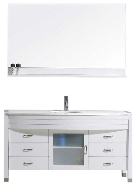 Ava 55 Single Bathroom Vanity Set White Modern Bathroom Vanities And Sink Consoles By