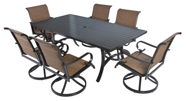 7pc Aluminum Padded Swivel Rocking Patio Dining set- Bronze/Brown