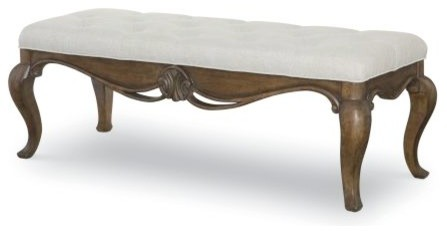 Legacy Renaissance Upholstered Bench, Oak. -2
