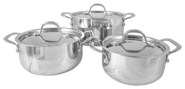 Le Chef 5-Ply Stainless Steel 6-Piece Dutch Oven Set.
