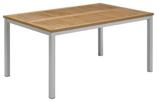 "Travira Rectangular Dining Table, Natural Teakwood, 63"""