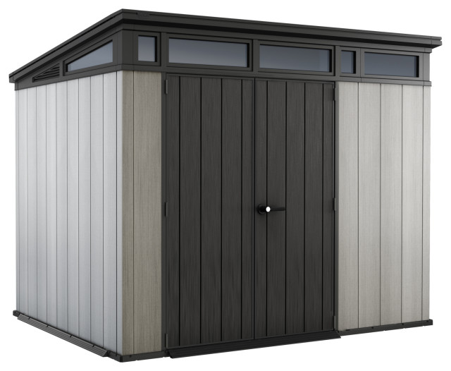 """Keter Artisan 9""""x7"""" Large Outdoor Resin Storage Shed With Modern Gray Design"""