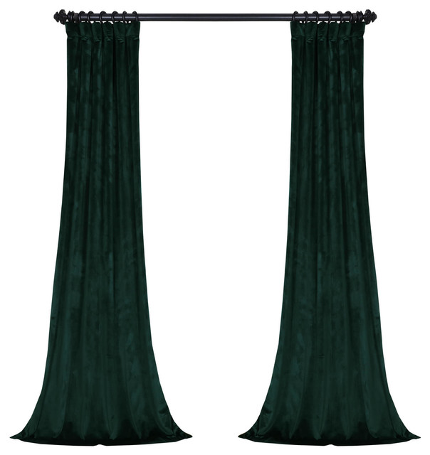 "Asher Single Panel Velvet  Curtain, Forestry Green, 50""x 96""."