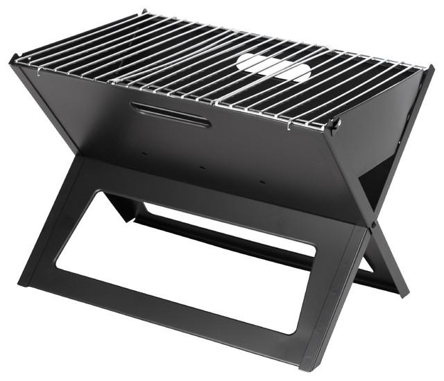Black Folding Portable Charcoal Grill.