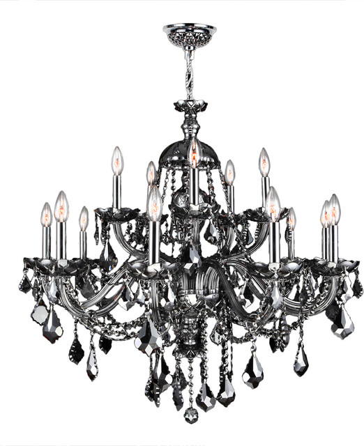 Worldwide lighting provence 15 light chrome finish smoke provence 15 light chrome finish smoke crystal chandelier 35 x 31 two 2 mozeypictures Images