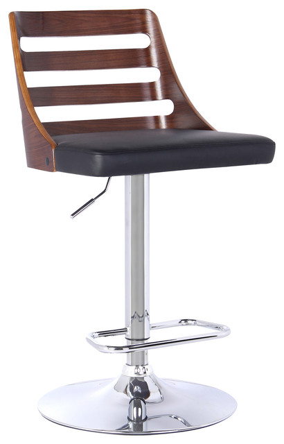 Elegant Storm Modern Adjustable Swivel Bar Stool, Black Contemporary Bar Stools And