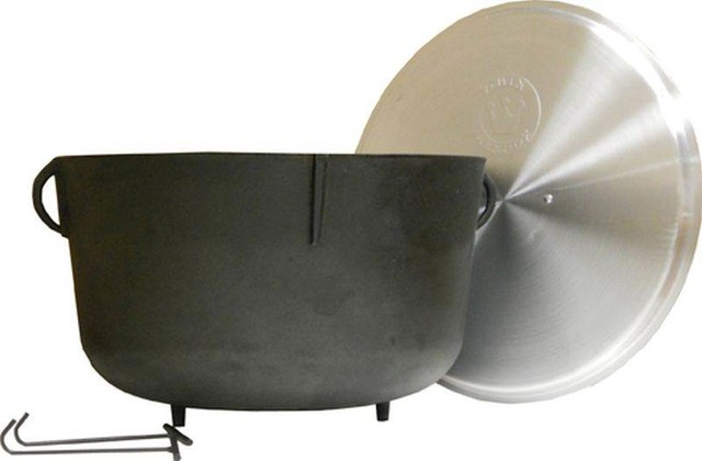 10 Gallon Heavy Duty Cast Iron Jambalaya Pot.