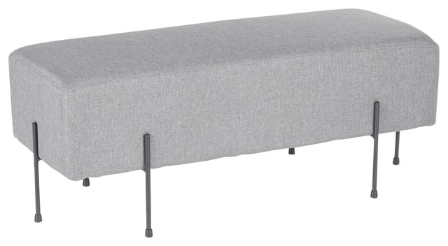 Daniella Contemporary Bench by LumiSource, Grey