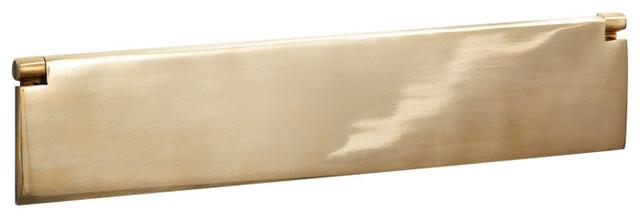 Internal Letter Box Flap, Large, 356mm, Polished Brass
