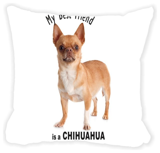 Brown Microfiber Throw Pillows : Rikki Knight LLC - My Best Friend Is A Brown Chihuahua Dog Microfiber Throw Pillow - View in ...