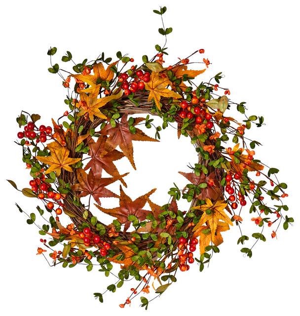 "Fall Berry Leaf Wreath On Natural Twig Base, 22"""