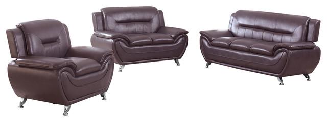 nova faux leather modern living room 3 piece sofa set