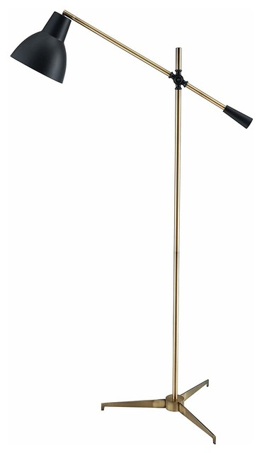 Modern Vintage Floor Lamp Brass Finished Flat Tripod Base With