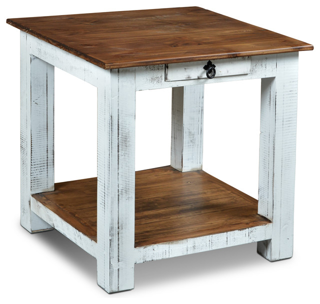 Rustic Solid Wood Distressed White 1-Drawer End Table