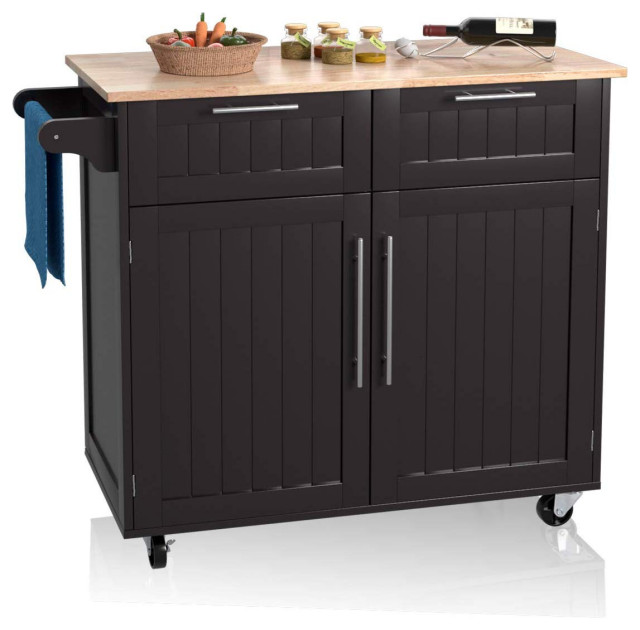 Kitchen Island Cart With Towel Rack And
