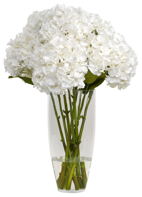 Hydrangea With Folliage In Glass Vase Traditional Artificial