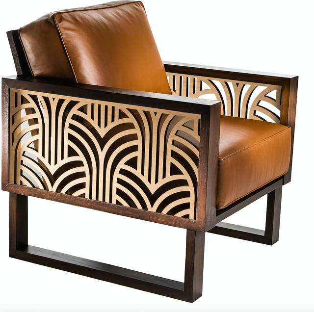 Twist Modern Leather Art Deco Armchair Transitional Armchairs