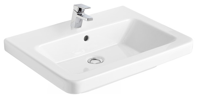 """Street 22"""" Wall Mounted Bathroom Ceramic Sink With Overflow."""