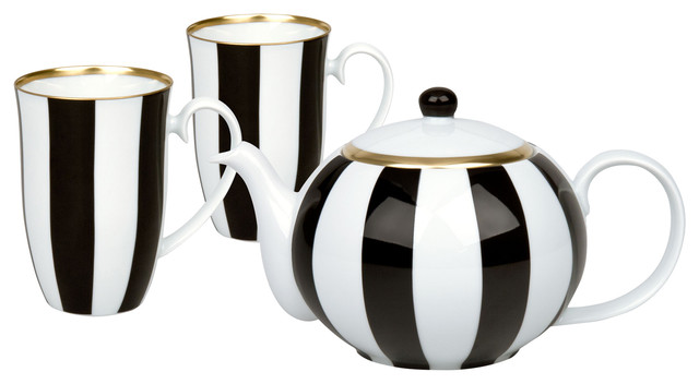 Black and White 3-Piece Teapot and Mugs Set, Stripes