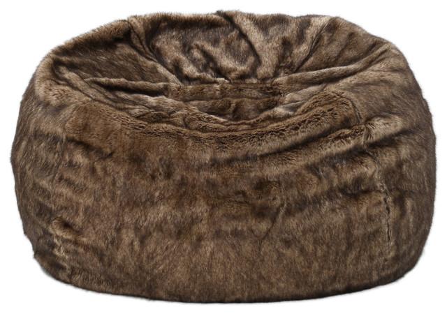 Meridian Plush Dark Brown Fur Fabric Bean Bag Contemporary Chairs