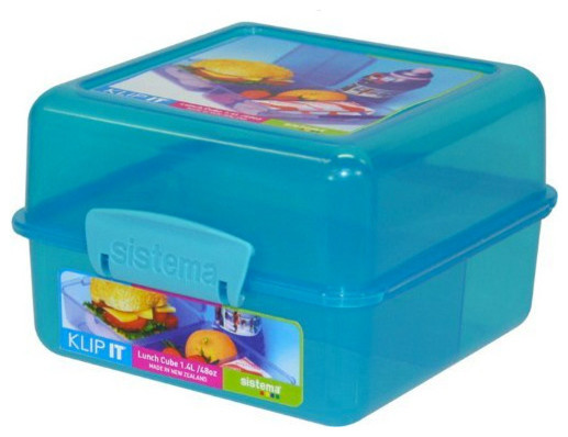 Wonderful Sistema Klip It Lunch Cube Blue Contemporary Food Storage Containers