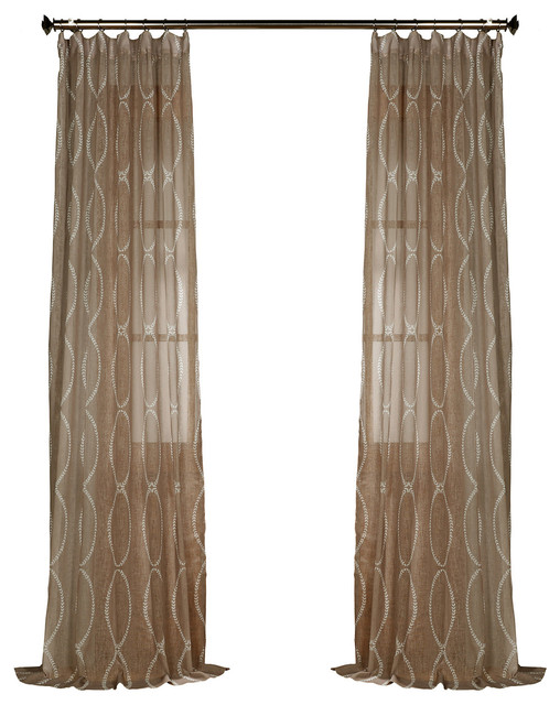 Barcelona Summerland Gray Scroll Scallop Valance Lined Cotton