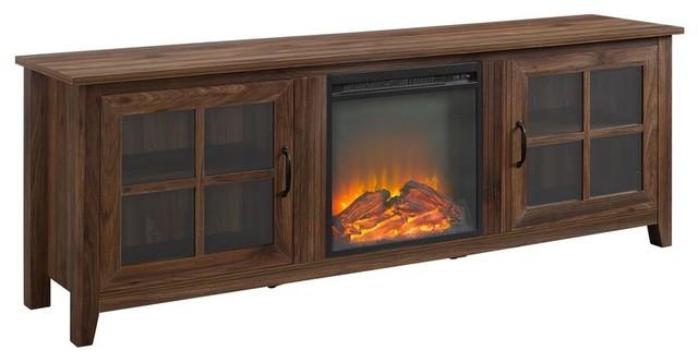 Super 70 Farmhouse Wood Fireplace Tv Stand With Glass Doors Dark Walnut Download Free Architecture Designs Scobabritishbridgeorg