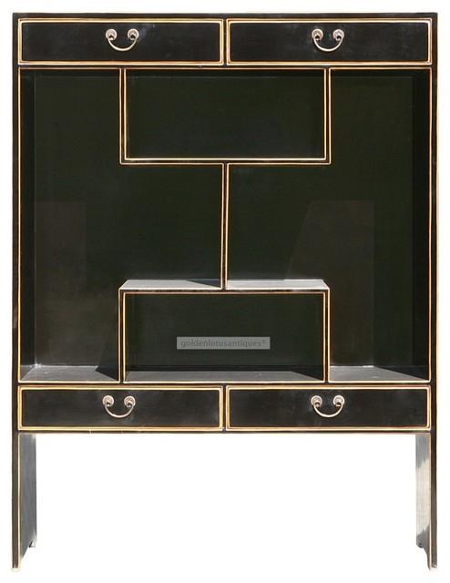 Multi Levels Black Lacquer Display Cabinet Curio Bookcase