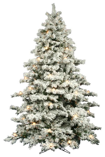 9' Prelit Flocked Alaskan Pine Tree, Clear Lights