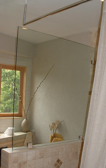 Modern Organic Bathroom Glass Wall Shower Rod Suspended