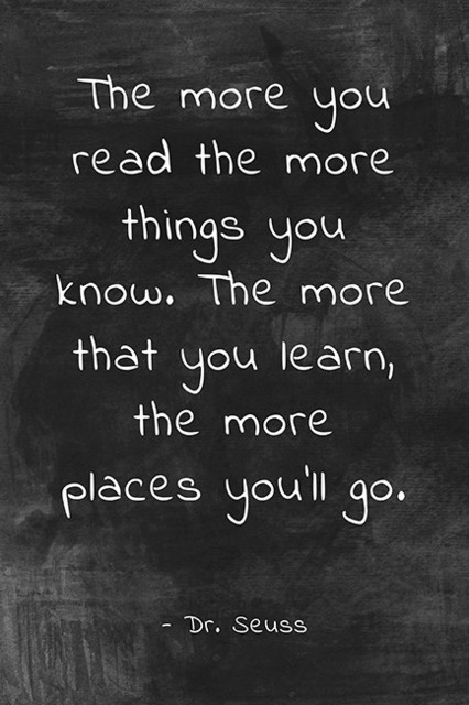 """""""the More You Read"""" Dr. Seuss Quote, Motivational Classroom Poster."""