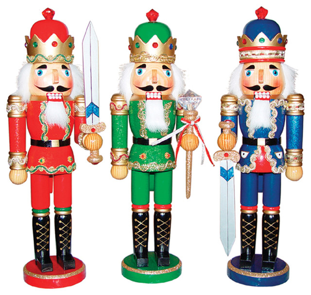 "15"" Bejeweled King Nutcrackers, Set Of 3."