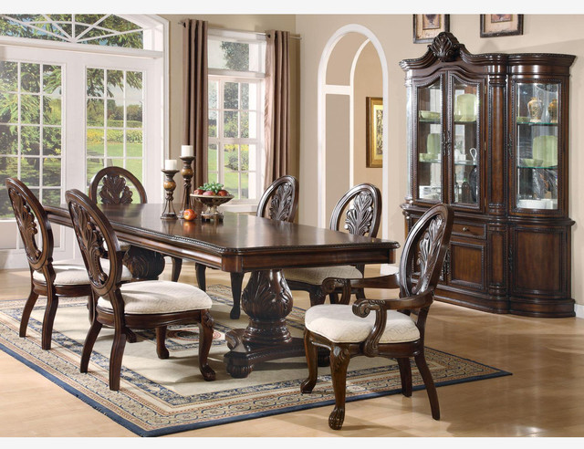 F Coaster 7PC Formal Cherry Wood Pedestal Dining Set Leaf  : traditional dining sets from www.houzz.com size 640 x 492 jpeg 131kB