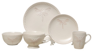 Dragonfly 5-Piece Place Setting Cream - Farmhouse - Dinnerware Sets - by ziabella  sc 1 st  Houzz & Dragonfly 5-Piece Place Setting Cream - Farmhouse - Dinnerware Sets ...