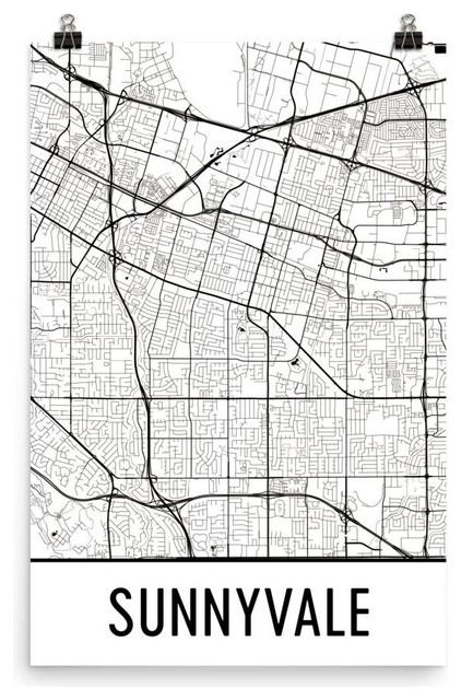 Sunnyvale California Map Art Print Poster Wall Art
