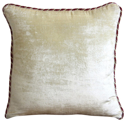 Decorative Pillow With Pearls : The HomeCentric - Ivory Velvet Solid Color Pillowcases, Pearl Ivory Velvet & Reviews Houzz
