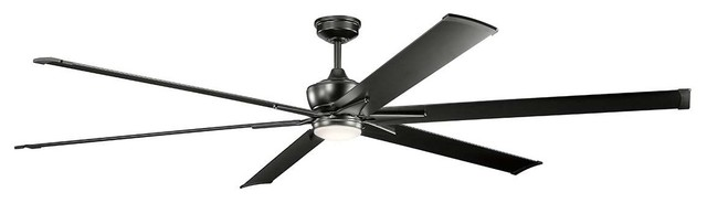 Kichler Szeplo Patio Outdoor Ceiling Fan With Light, Satin Black, 96.