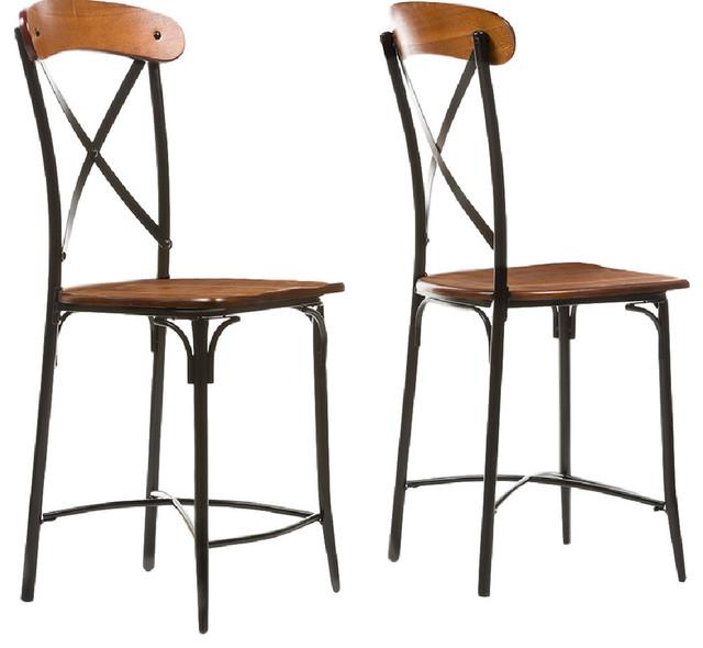 broxburn light brown wood and metal bar stools set of 2 industrial bar stools and counter. Black Bedroom Furniture Sets. Home Design Ideas