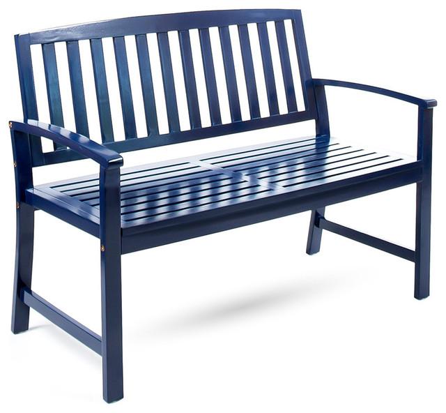 Sensational Gdf Studio Hardy Farmhouse Cottage Acacia Wood Bench Navy Blue Ibusinesslaw Wood Chair Design Ideas Ibusinesslaworg