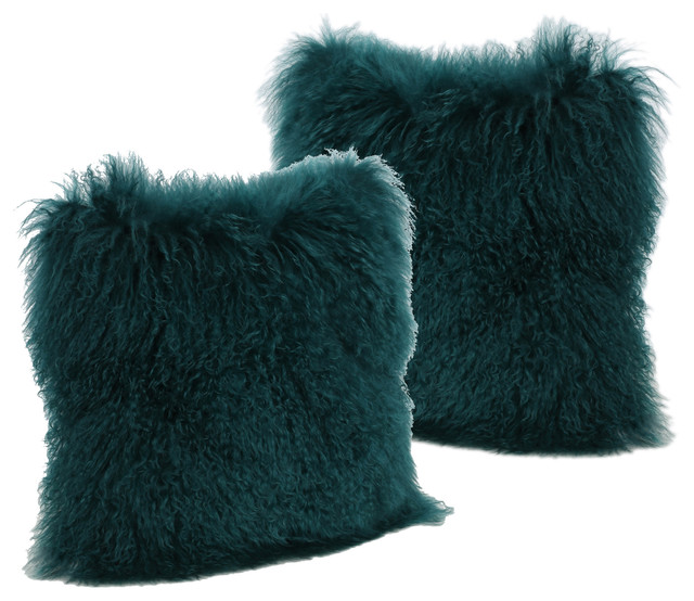Marybelle Shaggy Dark Teal Lamb Fur Square Throw Pillow, Large, Set Of 2.