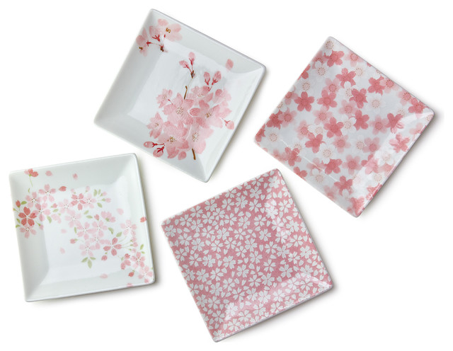 Miya Company - Sakura 3.75  Square Plate Set - Dinner Plates  sc 1 st  Houzz & Bestselling Asian Square Dinner Plates for 2018 | Houzz