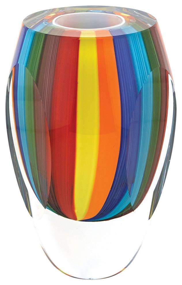 Rainbow Murano Style Art Glass 6 Vase Contemporary Vases By Badash Crystal
