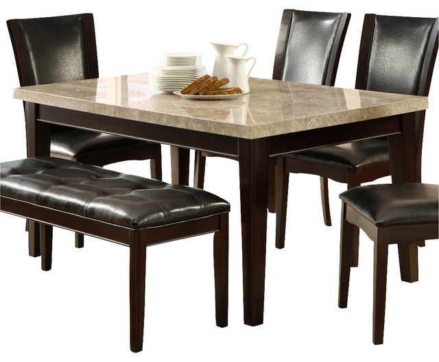 Homelegance Hahn Marble Top Dining Table In Espresso Traditional - Marble top dining table with bench