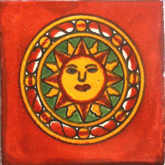 "4""x4"" Mexican Ceramic Handmade Tile C058."